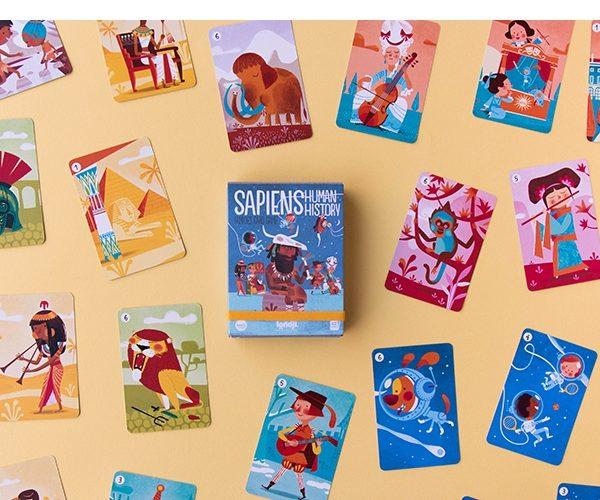 Londji, juego cartas familias. Sapiens, historia