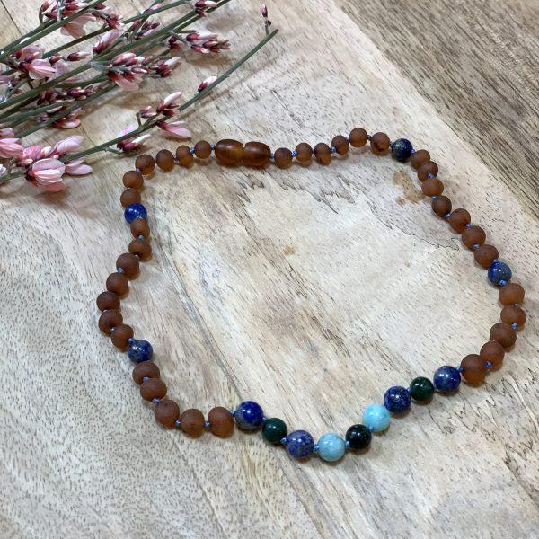 Collar Ada ADULTO 45 CM~ Ámbar, lapislázuli, jade y amazonita